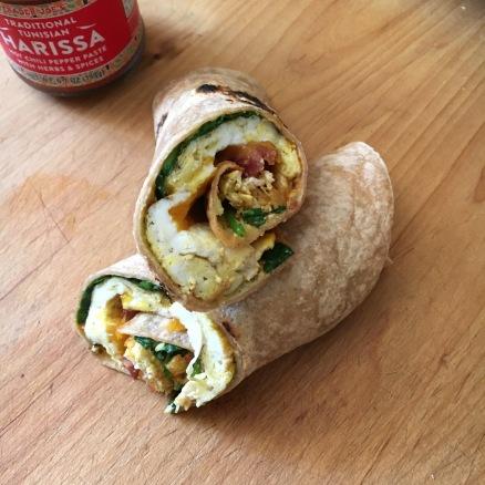 Delicious nutritious breakfast wrap.